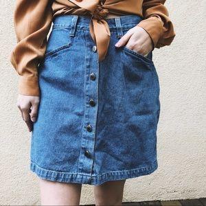 vintage button up levi's denim skirt shorts